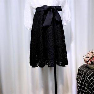 Юбки All-Match Feminine Lace 2021 Весна Летние Женщины Одежда Высокая Талия Черная Короткая А-Линия Юбка для