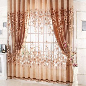 1Pc Luxurious Curtain Floral Upscale Jacquard Yarn Curtains For Living Room Bedroom Decor Tulle Voile Door Window Curtains 210712