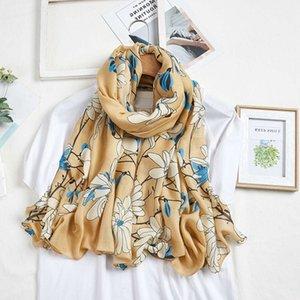 Écharpe d'automne et d'hiver Femme Magnolia Chant chaud Changsha Plage Serviette Spring and Summer Sun Protection Imitation Coton Draps