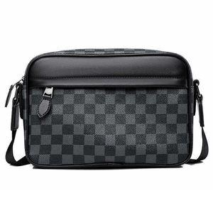 Children's Boys Single One Shoulder Crossbody Pack Fashion Plaid IPad Sports HandBag Portable High-volume Zippers Briefcase Messenger Bag G962TAW