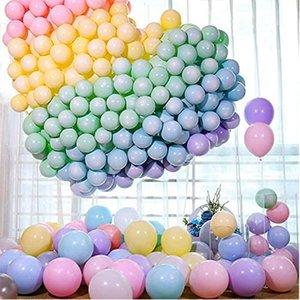 2021 Новейшие 10 дюймов / 100 шт. Macaron Pastel Candy Balloon Большие круглые шары Свадьба Деко День рождения Globos Latex Balloons Helium 534 V2