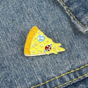 Pizza Food Enamel Brooches Cartoon Cute Fun Pins Bades for Denim Clothes Bag Fashion Jewelry Christmas New Year Gift Kids Friends