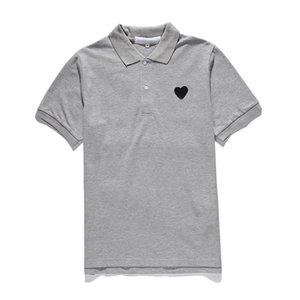 클래식 플레이 유니섹스 폴로 티셔츠 # PL003 여름 짧은 소매 패션 티셔츠 하라주쿠 스타일리스트 심장 패턴 남성 여성 디자이너 CDG 캐주얼 옷깃 꼭대기