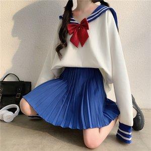 Costume féminin 2020 japonais nouveau kawaii no western style western colar jk uniforme vrac chandail mode douce robes plissées mignonnes