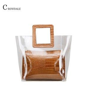 CROWDALE Women Bag Composite Bags Transparent Handbags Fashion Beach Bags Summer Casual Handbags tote high quality PU Designer