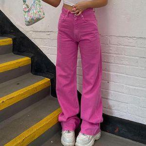 Женские джинсы Y2K Европейская и американская Свободная улица Девушка высокая талия Брюки 2021 Мода Slim Ретро прямые широкие ноги женщины