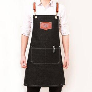 Apron cowboy Korean fashion painting barista tea shop waiter printing hairdressing uniform custom logo GGA4297