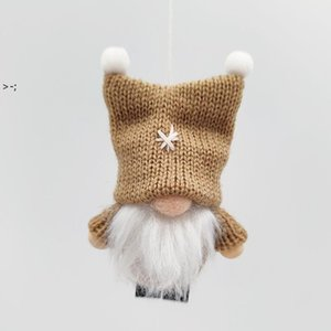 Christmas Decorations INS Style Woolen Knitted Faceless Dolls Double Ball Hat Christmas Tree Ornaments pendant LLE10460
