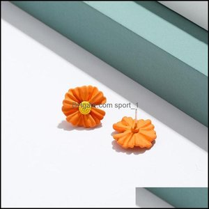 Jewelrysweet Acrylic Small Daisy Stud Earrings For Women Girls Flower White And Yellow Earring Wedding Bridal Party Holiday Jewelry 469 Drop