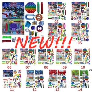 Christmas Fidget Toy Advent Calendar Set December 24 days Push Bubble 24pcs Set Silicone Stress Reliever Sensory Toy sea shipGWE9161