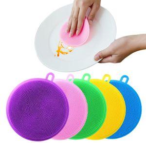 Prato de esponja de silicone escova de lavagem escova alimentação de alimentos antibacterianos BPA livre multiuso non stick limpeza mofo smar