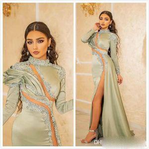 2021 Sexy Front Split Cermaid формальные вечерние платья шалфеяные кружевные аппликации с длинными рукавами PROM PROM Pageant Pageant для арабских женщин Vestidos de Novia