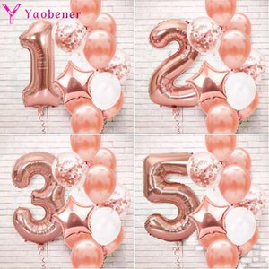 13pcs Rose Gold Number Foil Latex Balloon Birthday Party Decorations Kids Baby Boy Girl 1 2 3 4 5 6 7 8 9 Years Old 1st Birthday Y0923