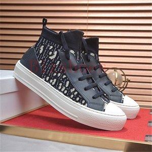 Tiefblau schräg technischer Mesh-Schuh Luxurys Calfskin-Einsätze Gummisohle mit Lucky Star Designer Frauen Schuhe Walk'n 'Mid Sneaker