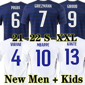 Homem + Crianças 2021 France Griezmann Mbappe Jersey Kante 21 22 Centenário Pogba Camiseta Maillot de Futebol 2022 França Zidane Giroud Matuidi Kimpembe Ndombele Thauvin 100th