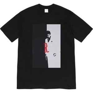 High-quality designer Sup 17FW Scarface Split Tee black and white photo loose short-sleeved T-shirt trend