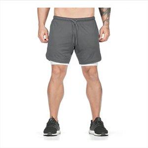Calças de esportes de secagem rápida dos homens shorts Double grande tamanho treinamento jogging suor-absorvente e respirável ginásio de ginástica