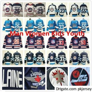 Hombres Mujeres Jóvenes Jets Hockey sobre hielo Hockey sobre hielo 26 Blake Wheeler 37 Connor Hellebuyck 81 Kyle Connor 55 Mark Scheifele Steinsed Jerseys