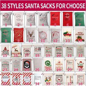Lienzo navidad santas bolsa grande cordón caramelo bolsas de claus de Claus de Navidad Regalo de Navidad Santa sacos para la decoración del festival