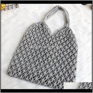 Beach Woven Bag Mesh Rope Weaving Tie Buckle Reticulate Hollow Straw Bag No Lined Net Shoulder Bag Dhd632 Injod Qtns4