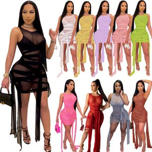 Women Mesh Perspective Bandage Sleeveless Sexy Party Dress Elgant Summer Bodycon Club Wear