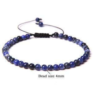 link 4mm Mini Energy Bracelet Natural stone Lapis Lazuli Agaat Kralen Yoga Flooded bracelet Adjustable for Women Men Handmade jewelry