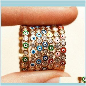 Jewelrybohemian Rainbow Evil Eye Rhinestone Filled For Women Vintage Ladies Midi Kunle Finger Ring Gold Band Rings Jewelry Zfh1U Drop Delive
