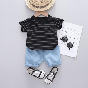 Cotton Summer Baby Children Shorts Denim Pants Suit T-shirt Todder Boy Girl Kids Strips Cartoon Cute Clothes Stuff 0-5Y Clothing Sets
