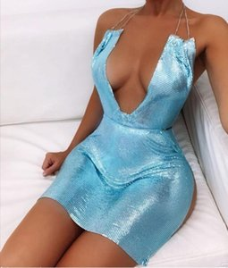 2020 novo profundo pescoço em v brilhante lantejoulas de metal mini vestido halter sem encosto split sexy vestido mulheres clubwear vestidos de festa de aniversário