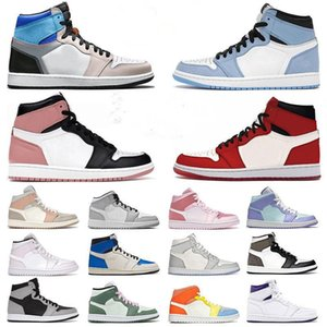 2021 JUMPMAN 1 1s Shoes Digital Pink Barely Orange High OG University Blue Hand Crafted Hyper Royal Seafoam Prototype Mens trainers Womens sneakers