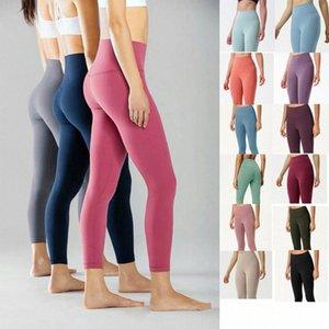 LU-25 32 Plagones de yoga para mujer Pantalones de ajuste de la cintura alta Alinear Lu Sports Raising Hips Gym Wear Elastic Fitness Mights Entrenamiento Fitness Sets T77L #