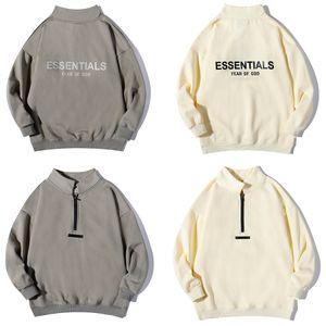 fog sweatshirts fear women off Essentials of hoodie god men Essential hoodies Stand up collar half zip drop shoulder sweatshirt Letter printing Hip Hop Fashion