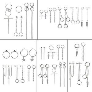 Korea Jewelry KPOP Hip Hop Punk Titanium Steel Tassel Chain Kit Stud