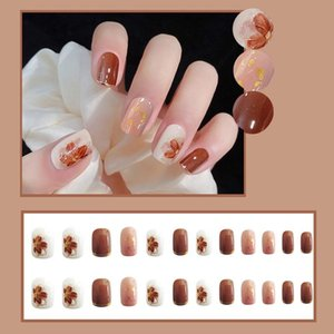 False Nails Short Square Full Cover Fake Fingernails Press On Glossy Artificial DIY Decoration Supplies For Nail
