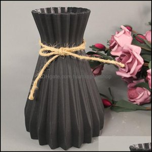 Vases Décor & Gardenvases Home Nordic Decoration Vase Origami Plastic Modern Decor Imitation Ceramic Flowers Lliving Room Aessorion Drop Del