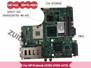 Motherboards 583077-001 For Probook 4510S 4710S 4411S Laptop Motherboard 6050A2297301-MB-A02 PM45 DDR3 216-0728020 GPU 100% Tested Ok