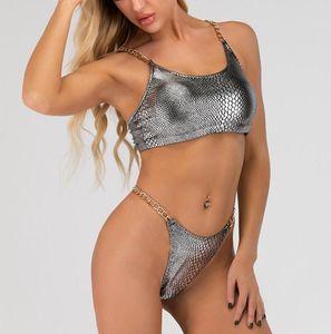 Pcs Swimsuit Women Padded Bikini Beach Wear Chain Split Swimwear Sexy Push Up Low Waist Bathing-Suit Swimming Set One-Piece Suits