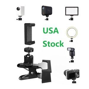 Schreibtisch-Clamp-Halterung für Ringlicht-Kamera-Telefon-Webcam-Gopro, Flash-Halterung-Tisch-Halter mit 1/4 Kugelkopfadapter