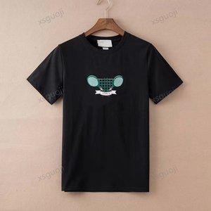 Gucci T-shirt Tenis Raket Nakış Seti Rahat Bej İtalya Yapılan Giyim Setleri T-Shirt Erkekler Kadınlar Kısa Kollu Yaz T Gömlek Moda Tee