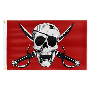 Crimson Pirate 3X5FT Red Flags Outdoor 150x90cm Banners 100D Polyester High Quality Vivid Color Two Brass Grommets GWD10508