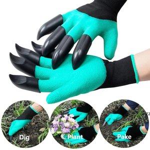 Садовые гнильные перчатки, копающие с 8 пластиковыми когтями сад полиэфирные перчатки HWF8527