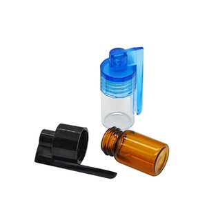 51mm 36mm Glass Bottle Snuff Snorter Dispenser Portable Bullet Snorter Plastic Vial pill case container box with spoon multiple color 422 R2