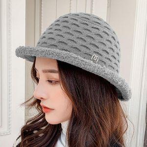 Sparsil Women Autumn Winter Solid Bucket Hat Foldable Outdoor Warm Windproof Caps Diamond Basin Plush Fisherman Chapeau Female Wide Brim Hat