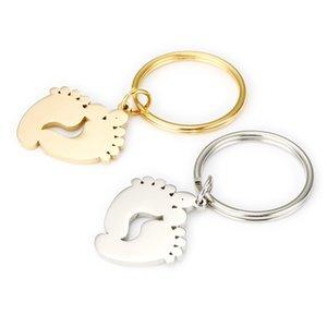 الصلب / الذهب الفولاذ المقاوم للصدأ الطفل سلسلة مفتاح القدم فارغة ل engrave معدن الطفل قدم المفاتيح مرآة مصقول بالجملة 10PCS 90 Q2