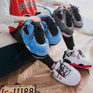 Зимняя теплая тапочка милый дом унисекс один размер кроссовки мужские дома пол хлопчатобумажные туфли женщины есу 35-44 плюшевые ползунки 210903