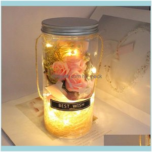 Festive Party Supplies Home Garden Decorative Flowers & Wreaths Rose Led Soap Flower Valentines Day Birthday Gift Immortal Rgb Light Multi-C