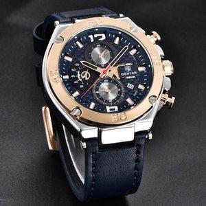 Benya 2021 Top Fashion Casual Hombres Casual Reloj de Cuarzo Multifuncional 30m Calendario Impermeable Reloj de cuero Relogio Masculino Wristwatche