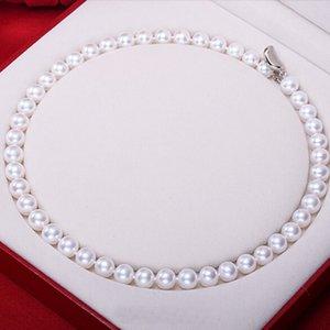 Halsketten Sinya AAA Grade Süßwasser Runde Perlen Halskette 18 Zoll 46 cm 7-10mm große Perle Nobel Schmuck Hoher Glanz für Frauen