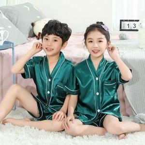 Pijamas Fake Silk Boys Niños Inicio Pijama Sets Girls Pijamas Color Sólido Comfort Ropa de dormir Baby Nightwear Verano Pijamas Set