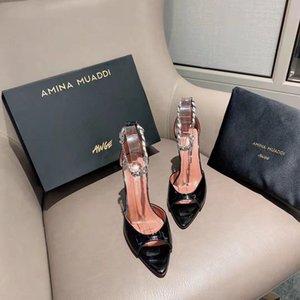 Fashion Season Shoes Amina Italy Muaddi Sandals X Awge Black Flacko 95 Leather Chain Wedding Party